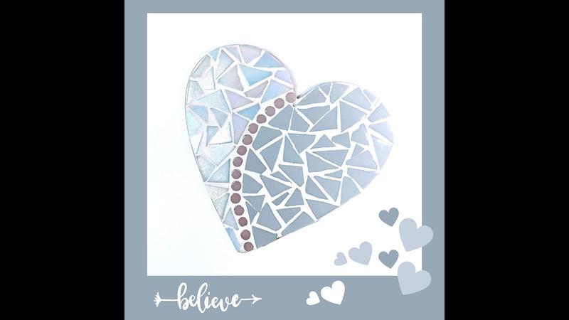 Grey and white iridescent love heart mosaic