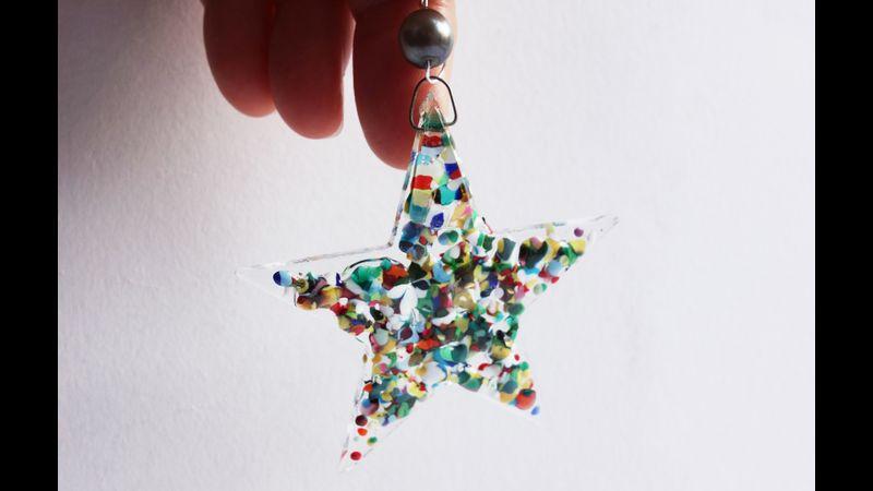 Rainbow speckled stars fused glass kit